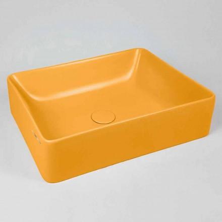Prostokątna umywalka nablatowa L 60 cm w ceramice Wyprodukowano we Włoszech - Rotolino