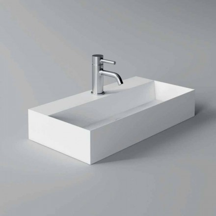 Nowoczesna prostokątna umywalka nablatowa lub wisząca 60x30 cm w ceramice - Act