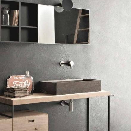 Prostokątna i nowoczesna umywalka nablatowa z kamienia Design - Farartlav3