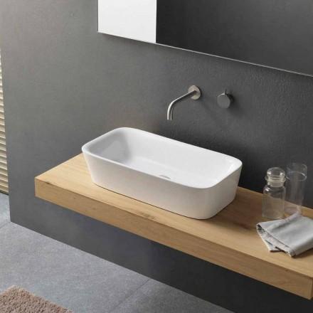 Nowoczesna prostokątna umywalka nablatowa w ceramicznym designie - Lipperialav1