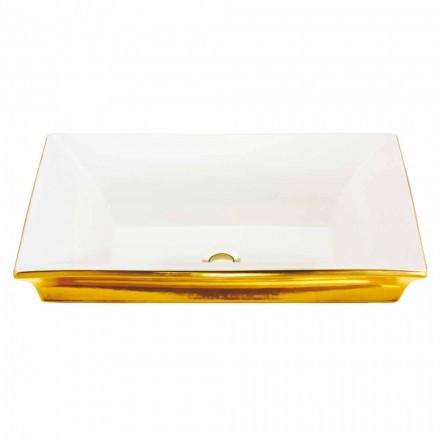 Nowoczesna umywalka częściowo wpuszczana w glinę ogniową i 24-karatowe złoto, Guido
