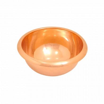 Umywalka okrągła nablatowa z miedzi, ręcznie wykonana, Alba