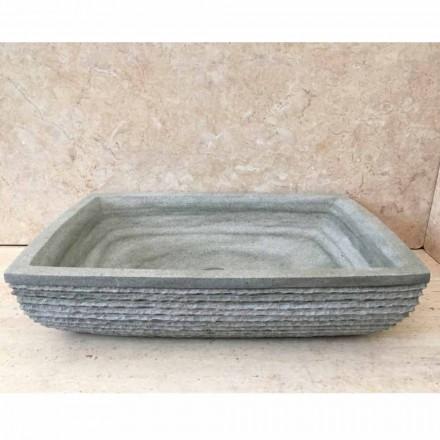 Projektowa zielona umywalka do łazienki Hilda z kamienia naturalnego