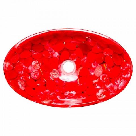 Nowoczesna umywalka nablatowa z czerwoną żywicą, Buscate