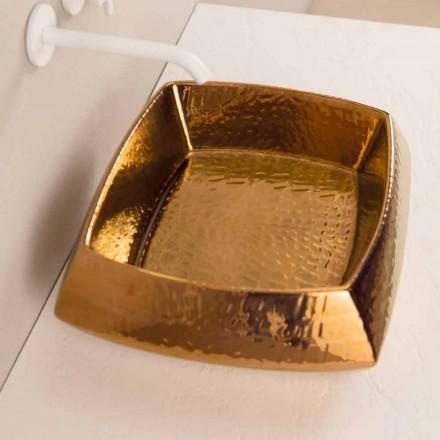 Umywalka ceramiczna brąz nablatowa design Simon, made in Italy