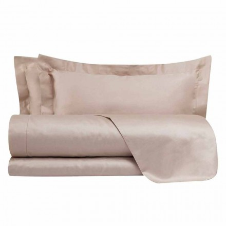Zestaw pościeli z satyny bawełnianej do łóżka podwójnego w jednolitym kolorze - frezja