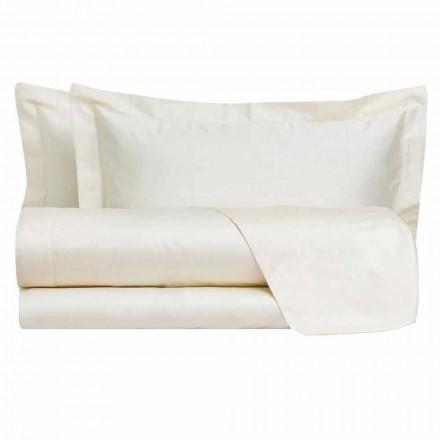 Prześcieradła w jednolitym kolorze w satynie bawełnianej do łóżka podwójnego - hibiskus