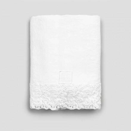 Prześcieradło z białego lnu z koronką do łóżka podwójnego wysokiej jakości - Fiumana