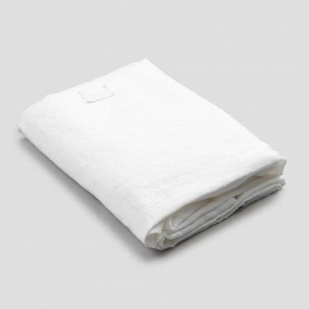 Prześcieradło z białej lnu do łóżka podwójnego, luksusowy design Made in Italy - Fiumano