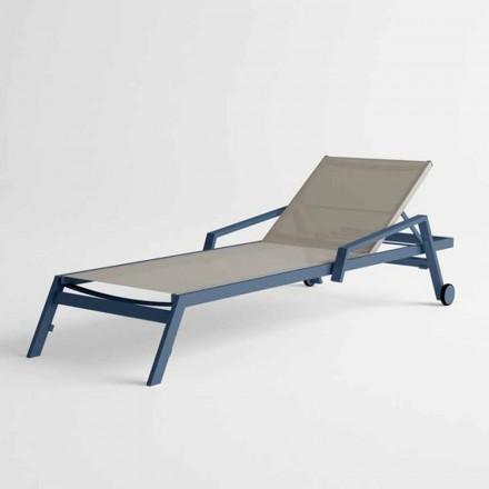 Zewnętrzny leżak z aluminium z kółkami i podłokietnikami Nowoczesny design - Carmine