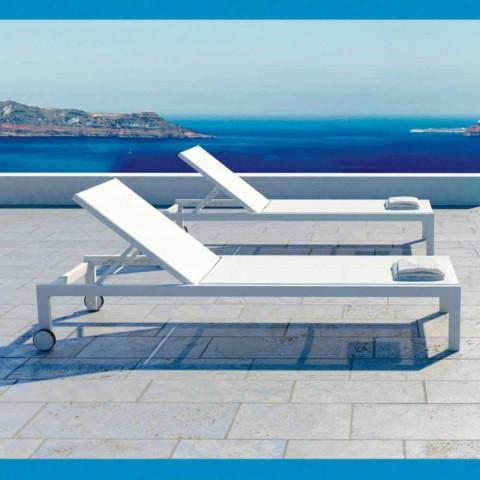 Aluminiowy leżak w nowoczesnym stylu z kółkami - Danubio2