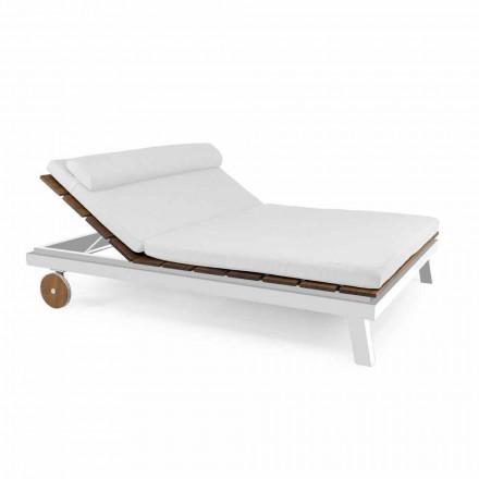 Podwójne lub pojedyncze zewnętrzne łóżko do opalania z aluminium i drewna - Cynthia