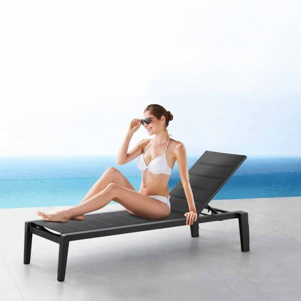Aluminiowy leżak z siedziskiem tekstylnym, 3 wykończenia - Moira