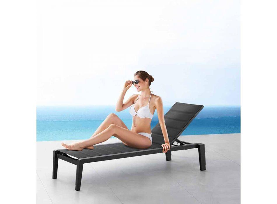 Aluminiowy leżak z poduszką Textilene, 3 wykończenia - Moira
