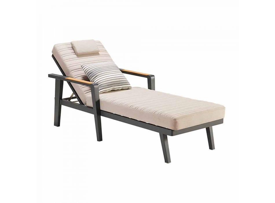 Aluminiowe podłokietniki do leżaka i drewna tekowego z zagłówkiem - Moira
