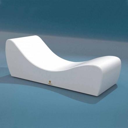Leżak relax Onda Trona z biało eko nautycznej skóry made in Italy