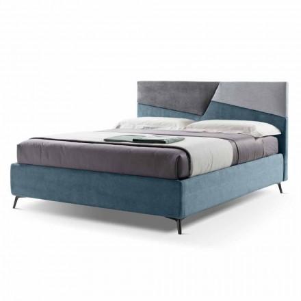 Łóżko podwójne z pojemnikiem tapicerowane tkaniną Made in Italy - Raggino