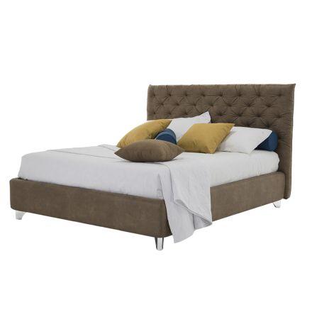 Pojemnik na łóżko Podwójnie wyściełany materiał lub sztuczna skóra Wyprodukowano we Włoszech - Euro