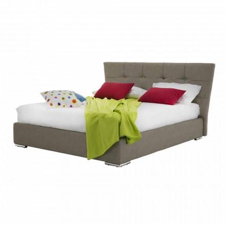 Luksusowe tapicerowane łóżko podwójne z tkaniną lub pudełkiem ze sztucznej skóry - mąka