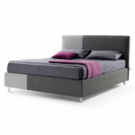 Łóżko podwójne z pudełkiem z dwukolorowej tkaniny Made in Italy - Jasmine