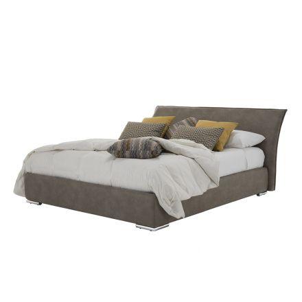 Podwójne łóżko z pojemnikiem z tkaniny lub eko-skóry Wyprodukowano we Włoszech - Doremì