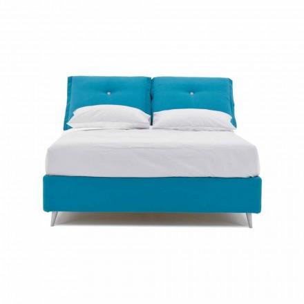 Podwójne łóżko z pojemnikiem pokrytym tkaniną Made in Italy - Renato