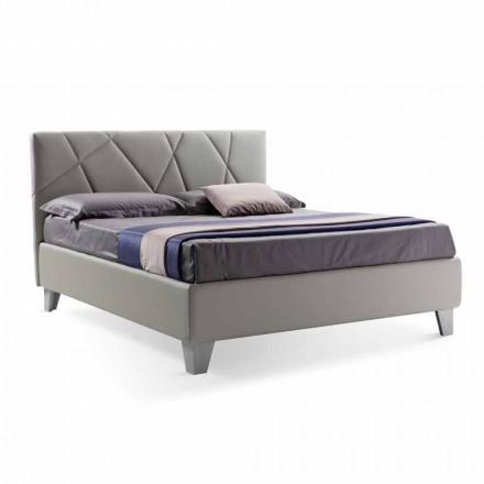 Nowoczesne łóżko podwójne tapicerowane z pudełkiem Made in Italy - Ciottolino