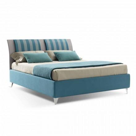 Luksusowe łóżko podwójne z pudełkiem w dwukolorowej tkaninie Made in Italy - Gagia