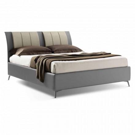 Tapicerowane łóżko podwójne z pudełkiem w ekoskóry Bicolor Wykonane we Włoszech - Gagia