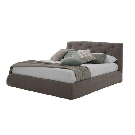 Łóżko tapicerowane z pudełkiem ze sztucznej skóry lub tkaniny Made in Italy - morszczuk