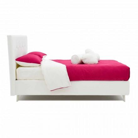 Podwójne łóżko tapicerowane skórą imitującą Swarovski Made in Italy - Perzio