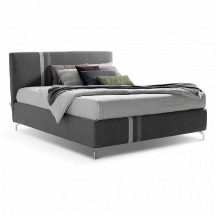 Podwójne łóżko materiałowe z pojemnikiem Made in Italy - Paolo