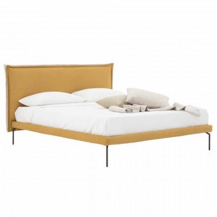 Podwójne łóżko z tkaniny z metalowymi nóżkami Made in Italy - Glorio