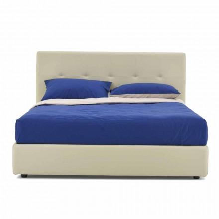 Podwójne łóżko wyściełane i pokryte sztuczną skórą Made in Italy - Patos