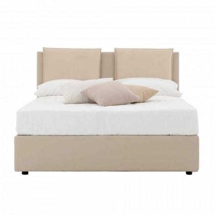 Nowoczesne podwójne łóżko ze sztucznej skóry i tkaniny Made in Italy - Zeldo