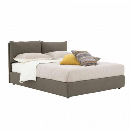 Podwójne łóżko tapicerowane tkaniną z czarnymi nóżkami Made in Italy - Bandola