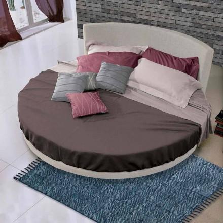 Okrągłe podwójne łóżko pokryte tkaniną, wyprodukowane we Włoszech - Rello