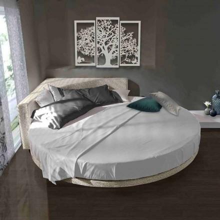 Nowoczesne okrągłe łóżko podwójne z kątowym zagłówkiem Made in Italy - Tima