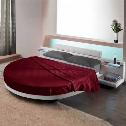 Okrągłe podwójne łóżko pokryte ekoskórą, wykonane we Włoszech Design - Vesio