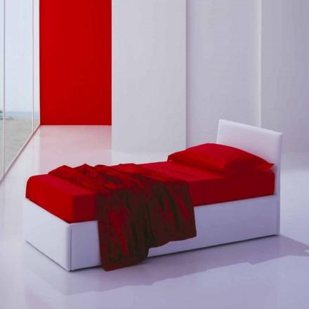 Pojedyncze łóżko z zagłówkiem, konstrukcja z żelaza i drewna Line by Bolzan