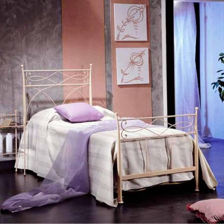 Łóżko jednoosobowe z kutego żelaza Ambra, made in Italy