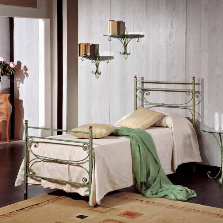 Łóżko jednoosobowe z kwadratowego kutego żelaza Leila,made in Italy
