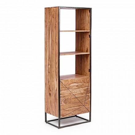 Regał podłogowy ze strukturą z drewna akacjowego i stali Homemotion - Golia
