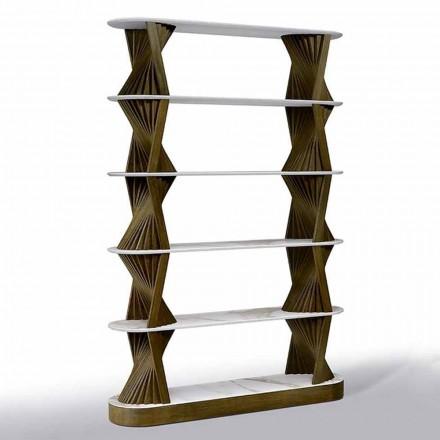Luksusowy regał podłogowy z drewna z blatami kamionkowymi Made in Italy - Aspide