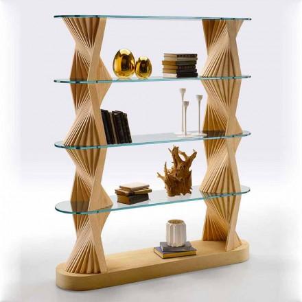 Luksusowy regał podłogowy ze szkła i drewna jesionowego Made in Italy - Aspide