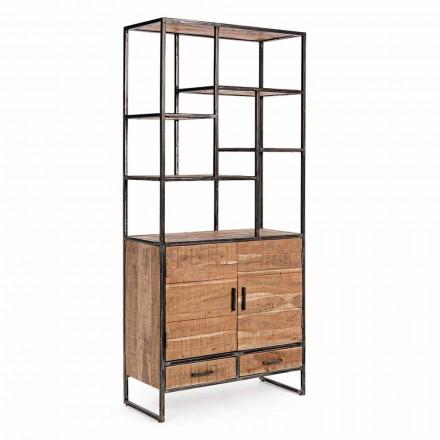Regał podłogowy Homemotion z malowanej stali z drewnianymi półkami - Zompo