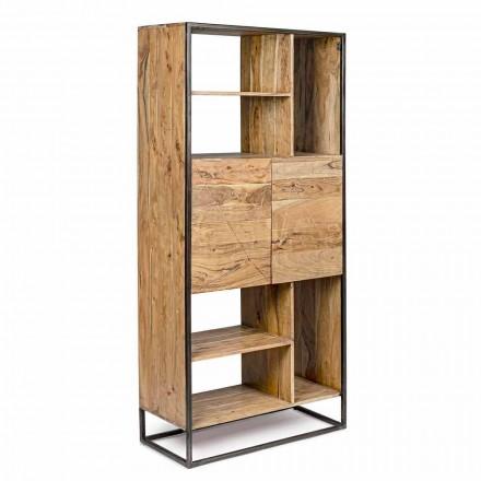 Homemotion - Regał podłogowy Goliath z drewna akacjowego i malowanej stali