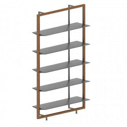 Regał podłogowy z metalu, aluminium i drewna Made in Italy - Bonaldo Aliante
