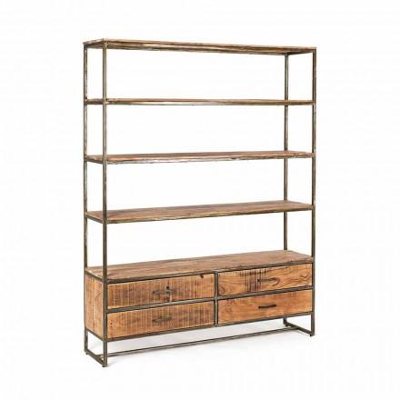 Regał podłogowy w stylu industrialnym ze stali i drewna Homemotion - Zompo