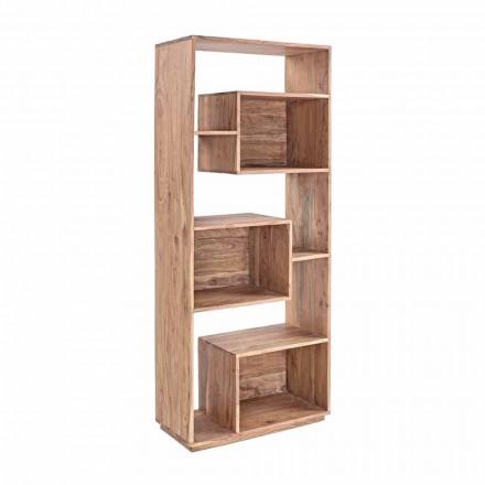 Nowoczesny regał podłogowy Homemotion ze strukturą drewna akacjowego - Genza